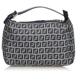 Fendi-Zucchino Canvas Handbag-Grey