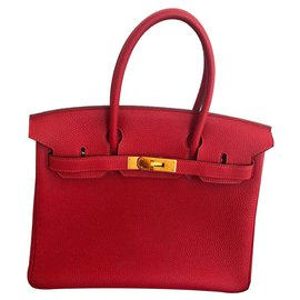 Hermès-HERMES BIRKIN 30 cm-Rouge