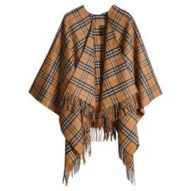 Burberry-CAPE Poncho en laine et cachemire à motif Vintage check 50% CACHEMIRE 2019-Caramel
