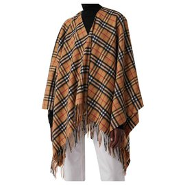 Burberry-CAPE Vintage check wool and cashmere poncho 50% cachemire 2019-Caramel