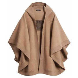 Burberry-CAPE Poncho BURBERRY CAMEL hoodie cashmere wool blend new with no tag-Caramel