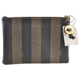 Fendi-Fendi Pequin Clutch Bag-Brown