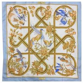 Autre Marque-Magnifique carré Hermès modèle Carré 90 Echarpe Stole Caraibes Bleu Floral Bird Soie 100% Auth et Rare-Bleu