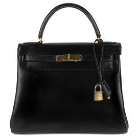 Hermès-Hermès Kelly 28 en cuir box noir, bijouterie or en très bon état !-Noir