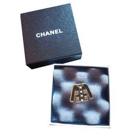 Chanel-Broche Chanel tailleur-Noir,Doré
