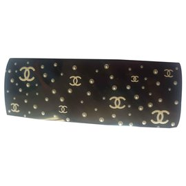 Chanel-Pince a cheveux Chanel CC et perles-Noir,Doré