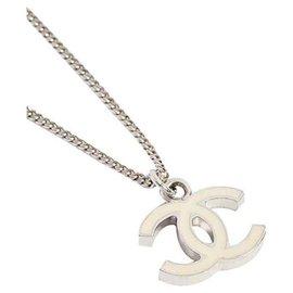 Chanel-Collier Chanel CC ivoire crème-Argenté,Crème