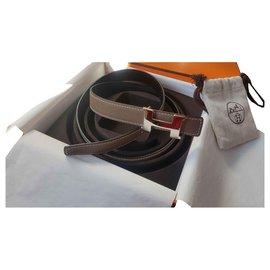 Hermès-Hermes H belt constance mini-Black,Taupe