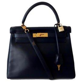 Hermès-Hermes Kelly bag 28-Navy blue