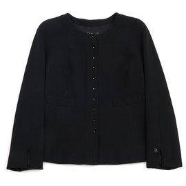 Chanel-black crepe FR38-Noir