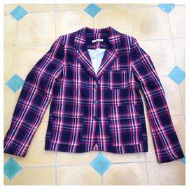 Sessun-Checked cotton blazer jacket in plaid / tartan-Red,Navy blue