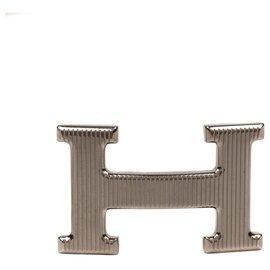 "Hermès-Hermès belt buckle ""Grille"" model in silver metal, new condition!-Silvery"