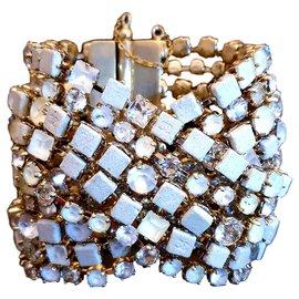 Chanel-bracelet CHANEL de la collection 2015 doré et cristaux-Blanc,Doré,Jaune