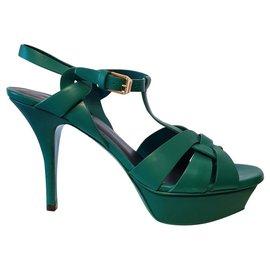 Yves Saint Laurent-YSL Tribute sandals in green 38.5-Green