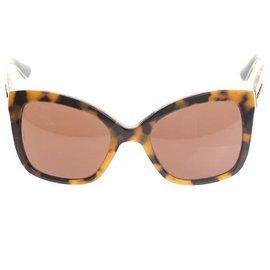 Autre Marque-Dolce & Gabbana - Lunettes de soleil yeux de chat en émail brun-Marron,Marron clair,Marron foncé