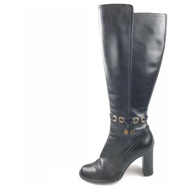 Louis Vuitton-Louis Vuitton Black Leather Knee-High Boot-Black