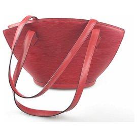 Louis Vuitton-Louis Vuitton Sangle Courte Epi Saint Jacques Rouge-Rouge