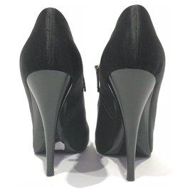 Fendi-Fendi Black Satin Peep-Toe Ankle Boot-Black