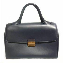 Céline-Celine Black Leather Handbag-Black