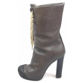 Fendi-Fendi Brown Leather Lace-Up Platform Boot-Brown