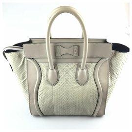 Céline-Celine Gray Medium Python Luggage Tote-Grey