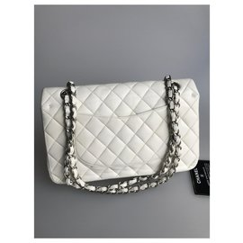 Chanel-with card lined Flap Medium Bag-White