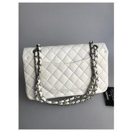 Chanel-sac moyen avec rabat doublé de carton-Blanc