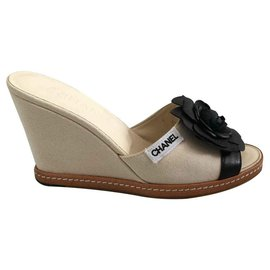 Chanel-Wedge mules-Beige