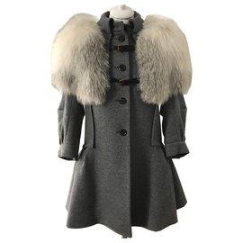 Louis Vuitton-Manteau de laine capelet de renard blanc-Gris