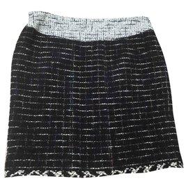 Chanel-Jupes-Noir,Multicolore,Beige