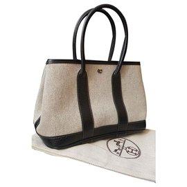 Hermès-Hermes garden party bag ttpm (mini)-Black,Beige