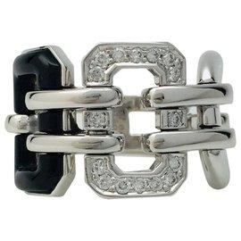 """Chanel-Bague Chanel """"Première"""" en or blanc, diamants et onyx.-Autre"""