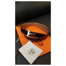 Hermès-Hermes H belt constance-Brown,Black,Metallic