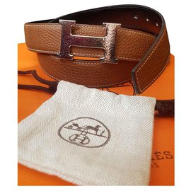 Hermès-Hermes H belt hammered constance-Brown,Black,Metallic