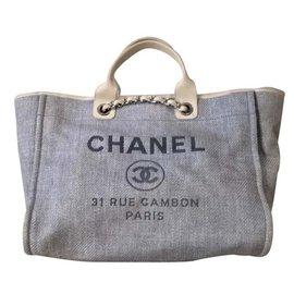 Chanel-Chanel deauville tote XL-Blue,Cream