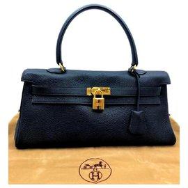 Hermès-Hermes Blue Shoulder Birkin with GHW-Dark blue
