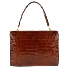 "Hermès-Hermes vintage bag ""Crocodile leather pedals in brown color in good condition!-Cognac"