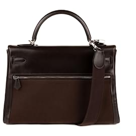 Hermès-Stunning and rare Hermes Kelly Lakis 32 shoulder strap bi-material leather box and brown canvas in excellent condition!-Brown
