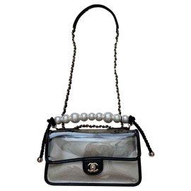 Chanel-Coco Sand PVC Flap Bag-Black