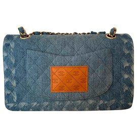 Chanel-Medium Blue Denim lined Flap Bag-Blue