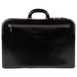 Hermès-Men's briefcase Hermes Paris vintage box black leather in good condition!-Black