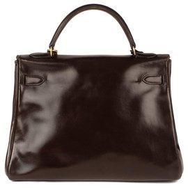 Hermès-Hermès Kelly vintage leather box brown bag, gold jewelery in good condition!-Brown