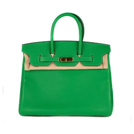 Hermès-HERMES BIRKIN 35 special order in green bamboo togo, Golden Jewelery, new condition!-Green