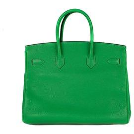 Hermès-Hermès Birkin 35 commande spéciale en togo vert bambou, bijouterie dorée, état neuf !-Vert