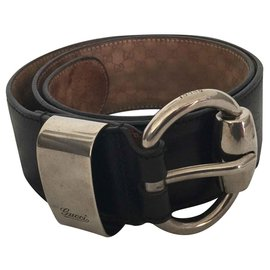 Gucci-Black leather belt with silver buckle-Black