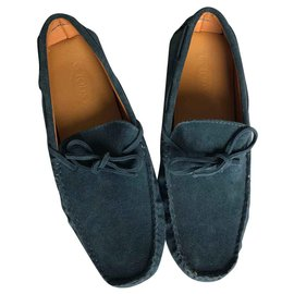 Tod's-Tod's Gommino Suede Driving Shoes-Blue
