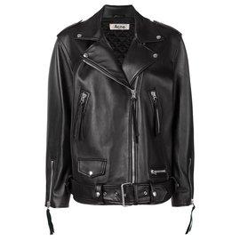 Acne-Myrtle Leather Jacket-Black