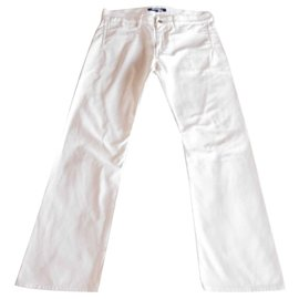 Junya Watanabe-Junya Watanabe  Man Buckle Belt Back Denim Trouser-White