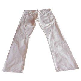 Junya Watanabe-Junya Watanabe  Man Buckle Belt Back Denim Trouser-White