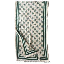 Autre Marque-Echarpe Imprimée ivoire et vert foncé  UNISEX  Neuve-Blanc cassé,Vert foncé